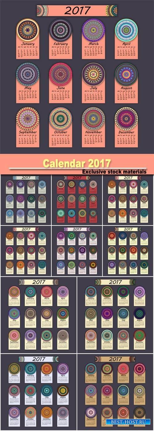 Calendar 2017, vintage decorative colorful elements, ornamental floral orie ...