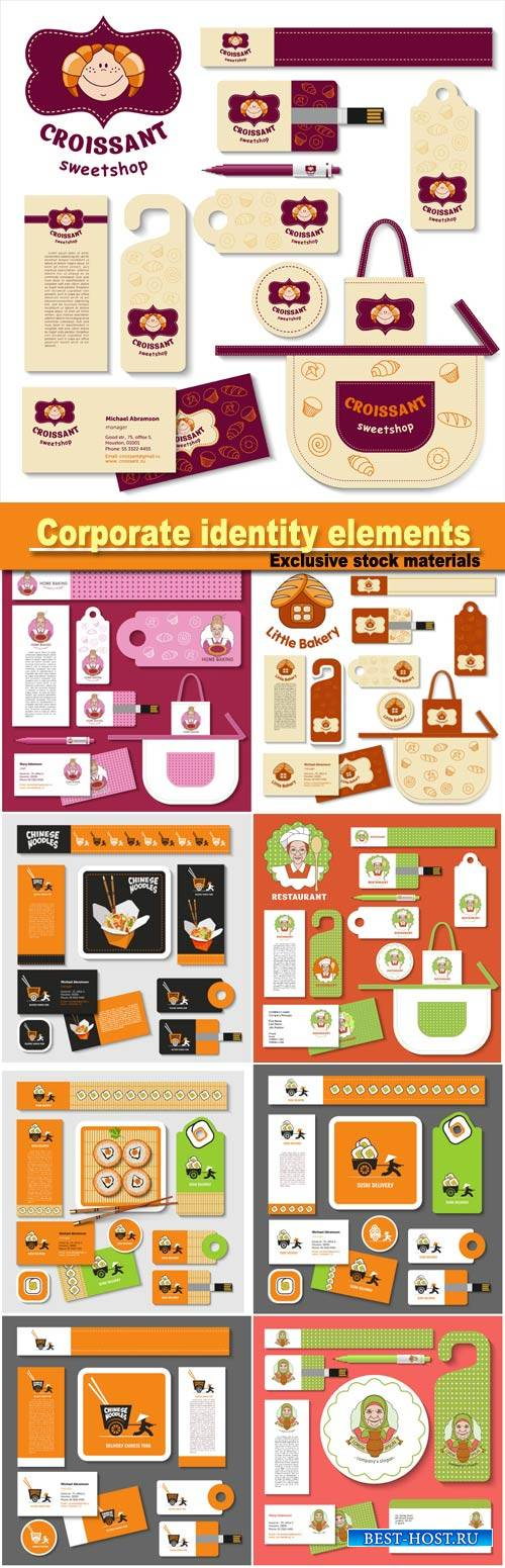 Set of templates corporate identity elements, bakery, natural farm products, chinese food, vector sign logo