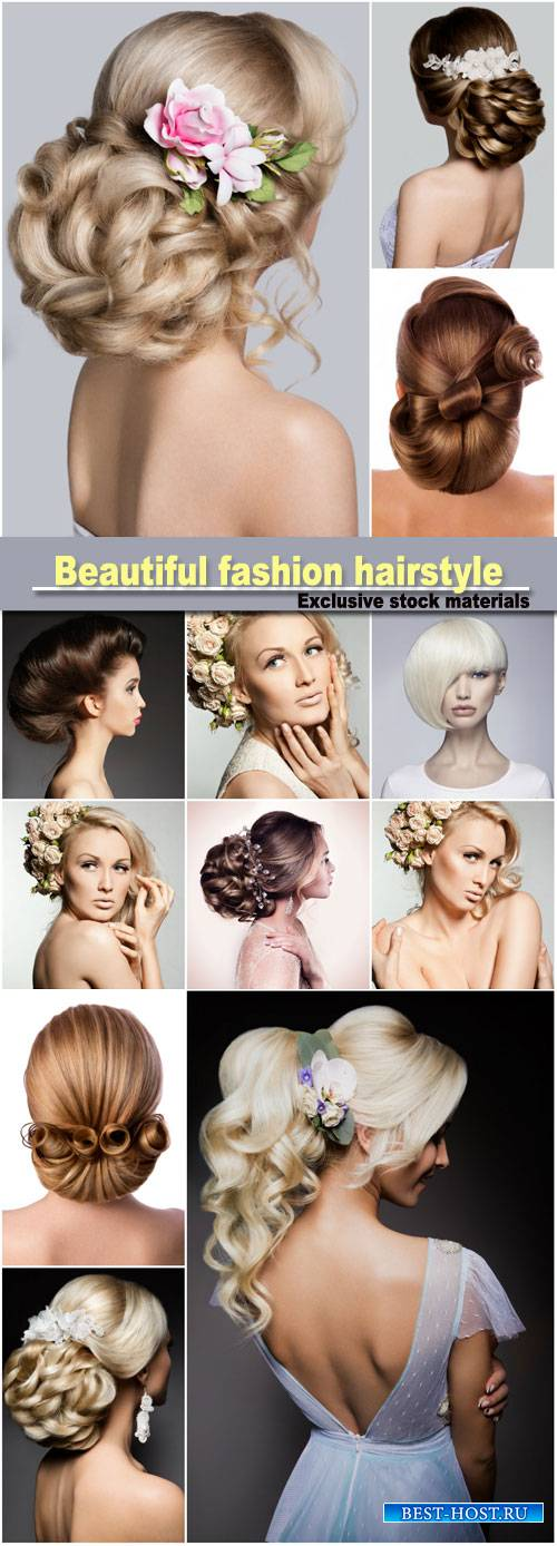 Beautiful bride with fashion wedding hairstyle, hairstyle beauty salon girl