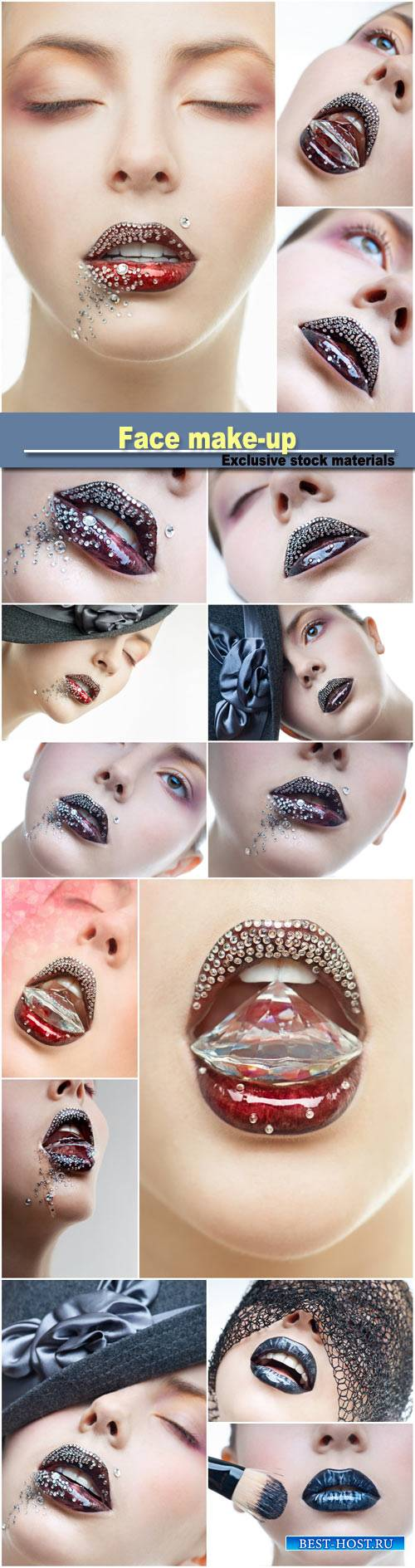 Face make-up, bright lips in the rhinestones