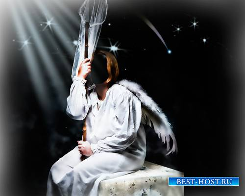 Шаблон для фото - Девушка ангел с сочком