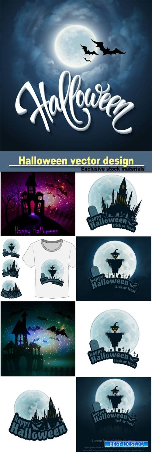 Halloween design with full moon with blue sky