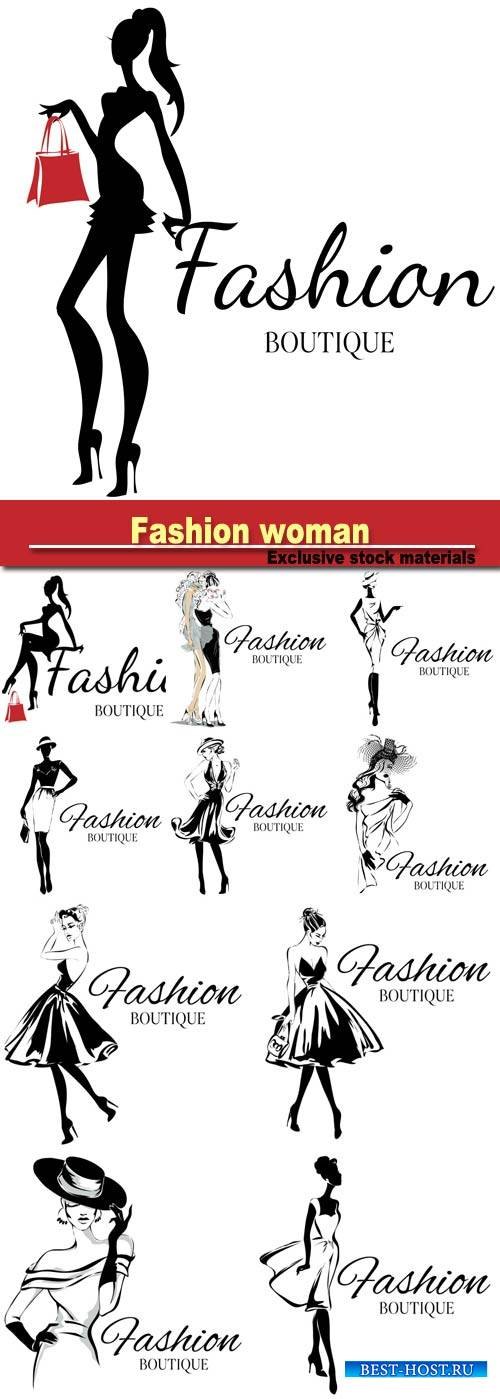 Fashion boutique logo with black and white woman silhouette, hand drawn vec ...
