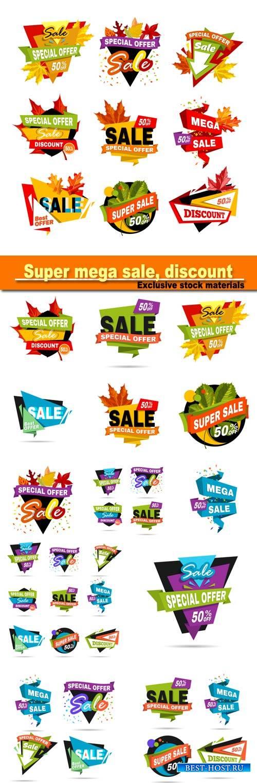 Super mega autumn or fall sale, discount, sticker for business