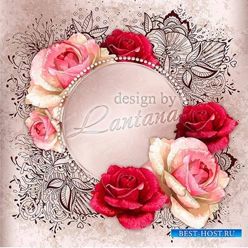 PSD исходник - Открытка с розами