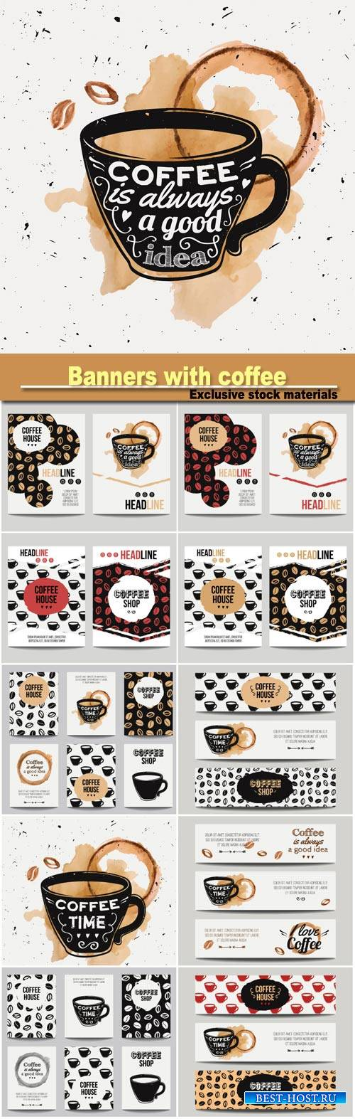 Vector set of modern banners with coffee backgrounds