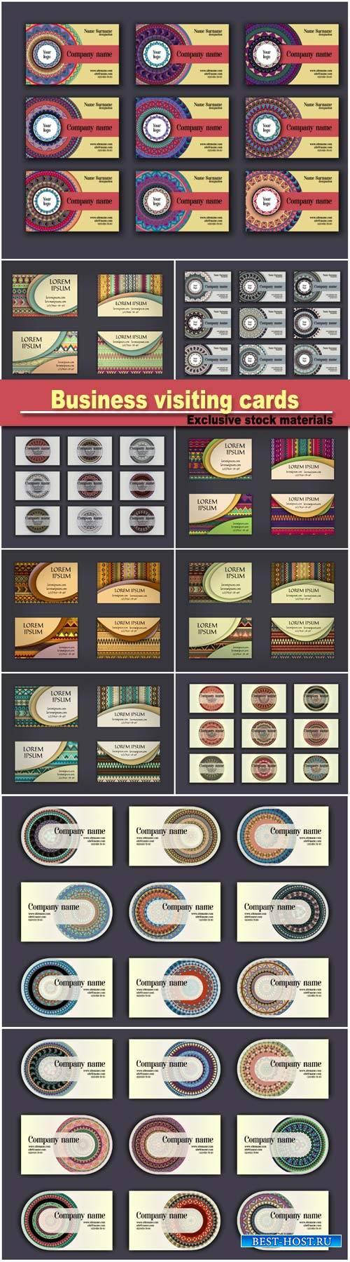 Vintage business visiting cards set, ornamental mandala, ethnic circle deco ...
