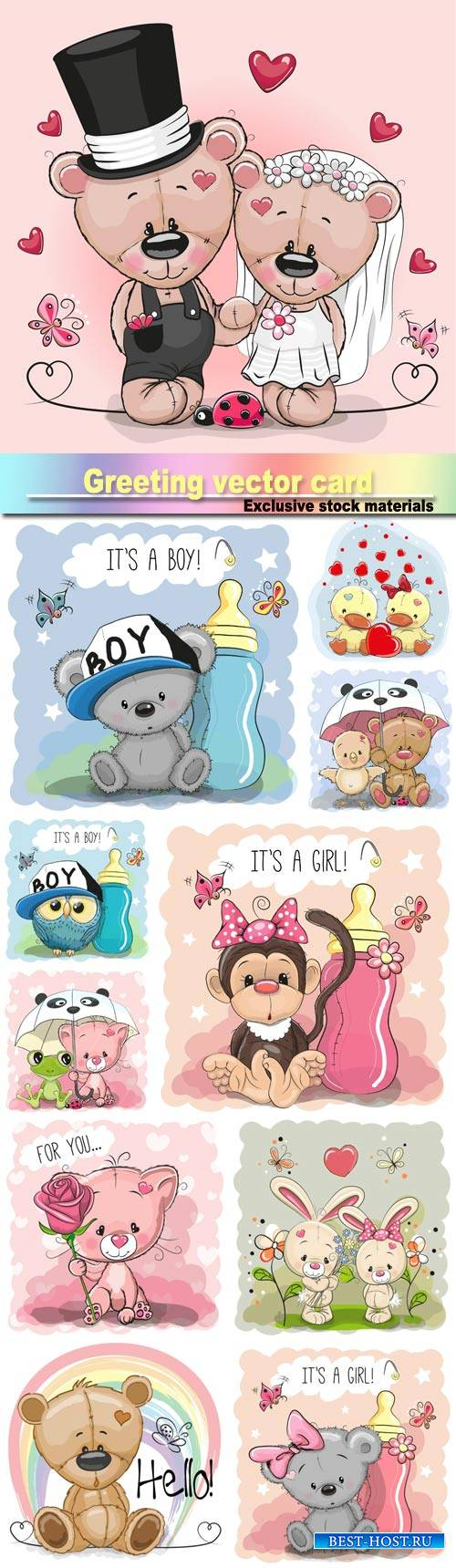 Greeting card cute, cartoon bear girl, monkey, teddy bride and teddy groom, ...