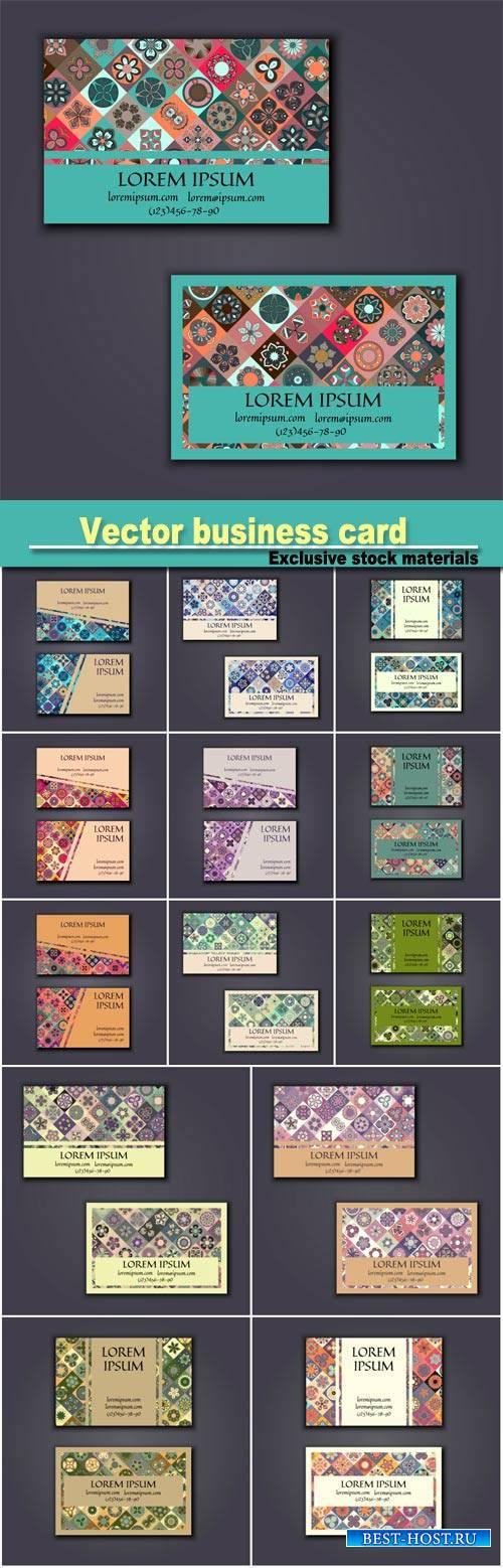 Vector business card design template with ornamental geometric mandala patt ...