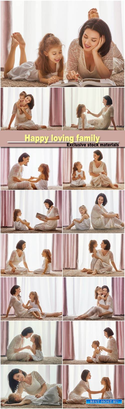 Happy loving family, mother and her daughter child girl playing and hugging