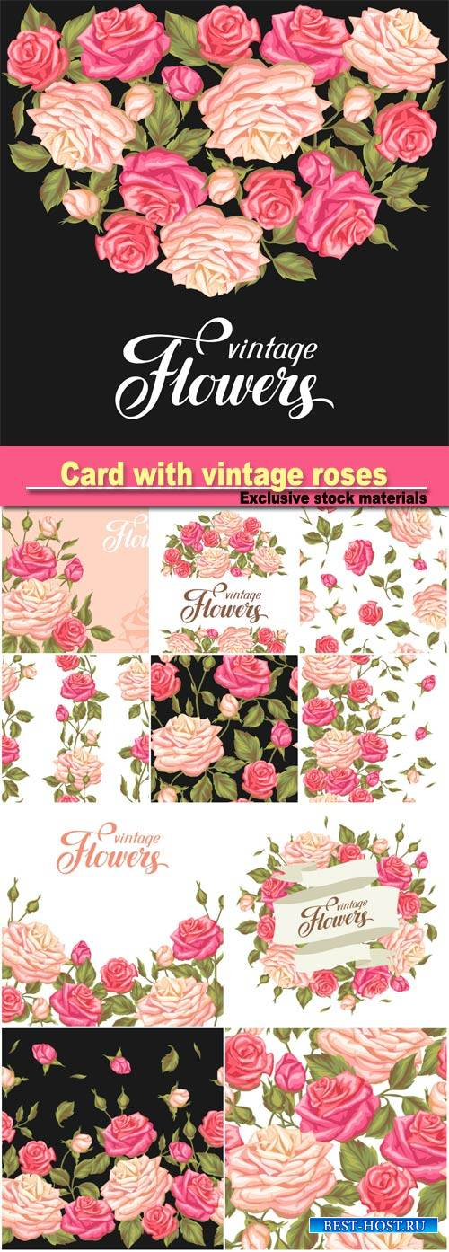 Invitation card with vintage roses, decorative retro flowers, image for wed ...