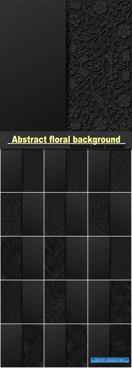 Abstract floral background, black backgrounds with patterns