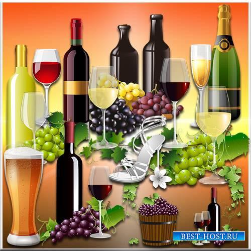 Шампанское, вино и пиво - Клипарт