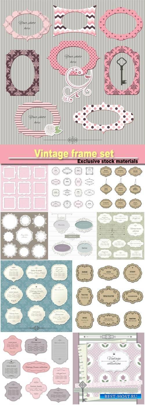 Vintage  set on damask background, calligraphic design elements