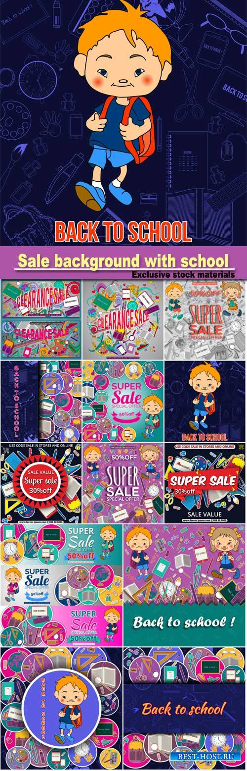 Sale background with school stationery icons, vector advertising banner tem ...