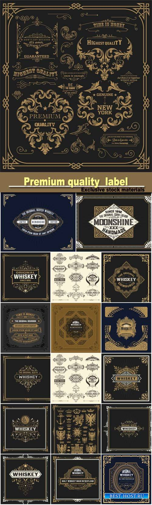 Pack of design elements, page decoration, premium quality and whiskey label ...