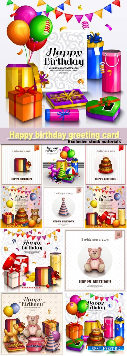 Happy birthday greeting card, pile of colorful wrapped gift boxes, lots of presents and toys