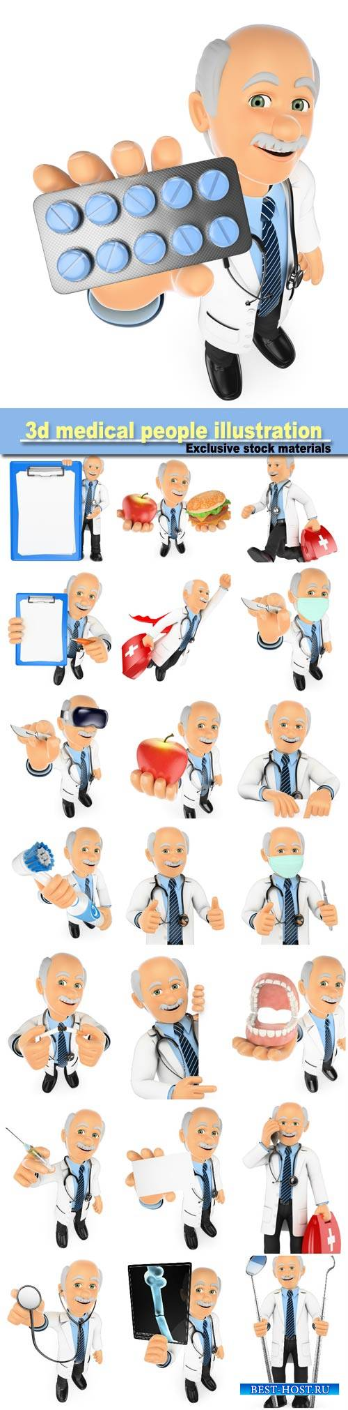 3d medical people illustration, doctor running to a emergency, isolated whi ...