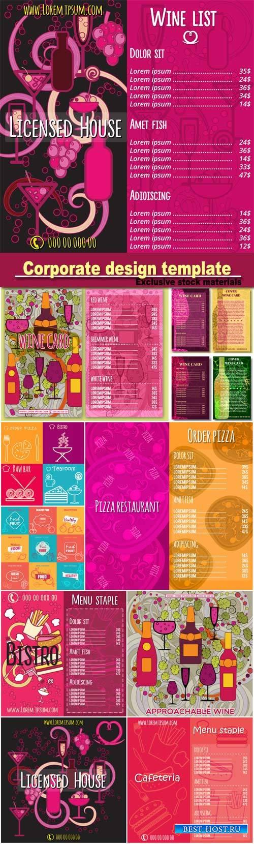 Corporate design, wine card template, business cards, menu