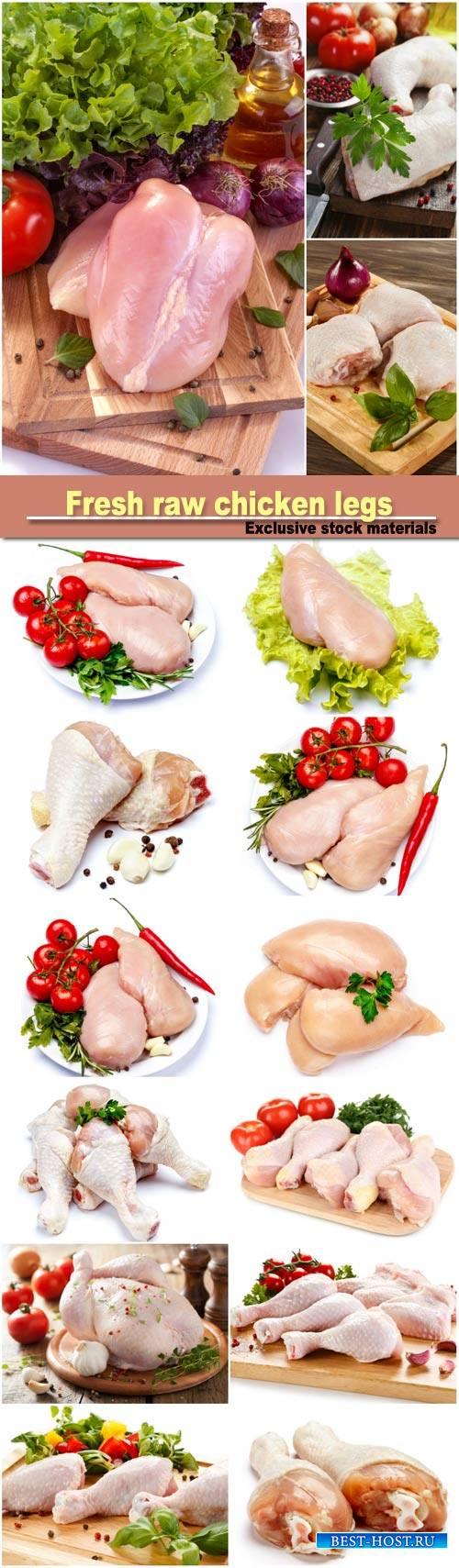 Raw chicken breast fillets, fresh raw chicken legs on the cutting board