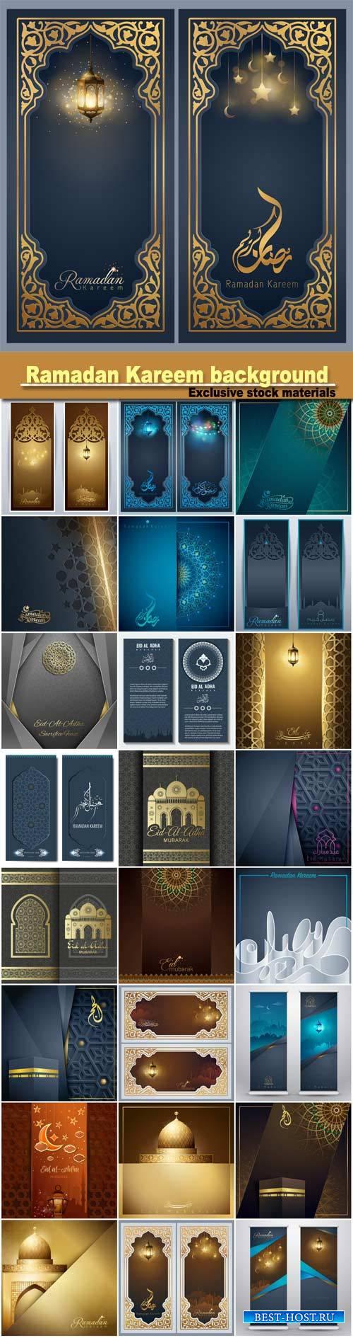 Ramadan Kareem greeting banner background template for islamic festival des ...