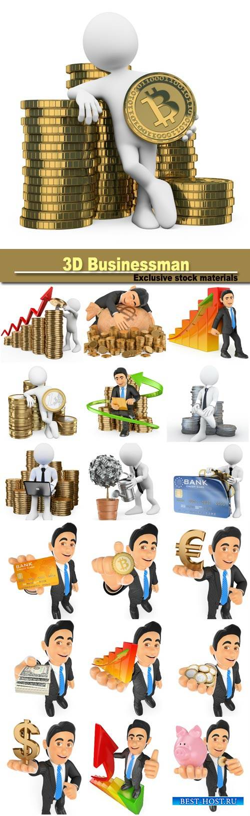 3D people, make money on Internet concept, businessman with euro coins
