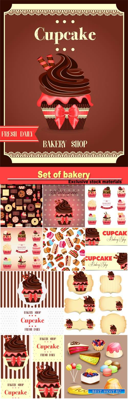 Set of bakery, vector cupcake