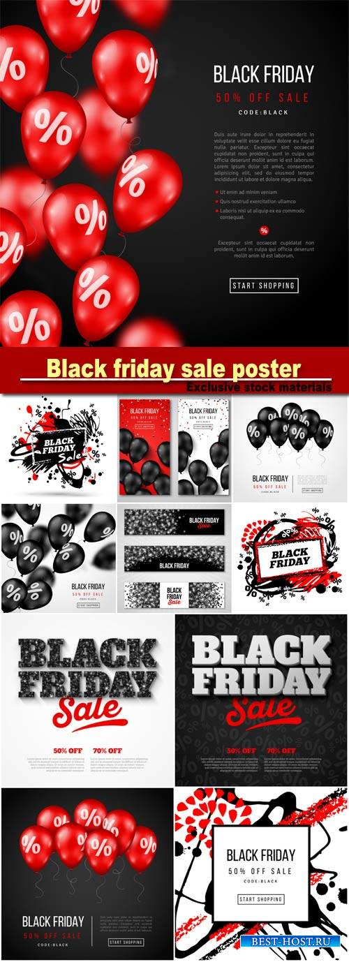 Black friday sale poster with red glossy balloons on dark background, vecto ...