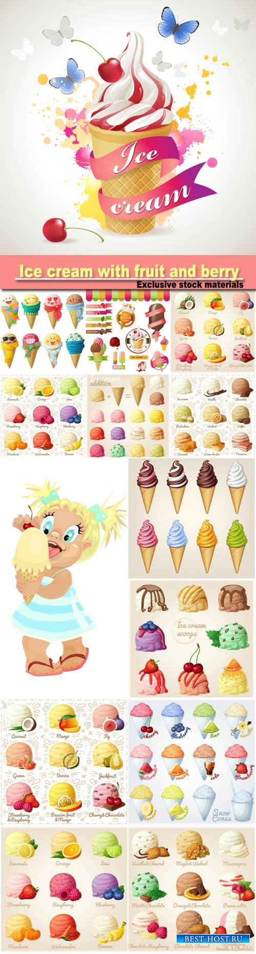 Ice cream scoops with different fruit and berry flavors, lemon, orange, lime, strawberry,raspberry, blueberry, mandarin, watermelon, banana