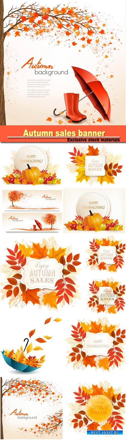 Autumn sales banner with colorful leaves, happy Thanksgiving background