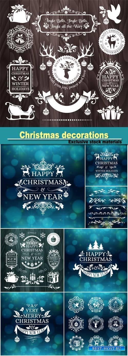 Christmas decorations, snowflake badges, holiday