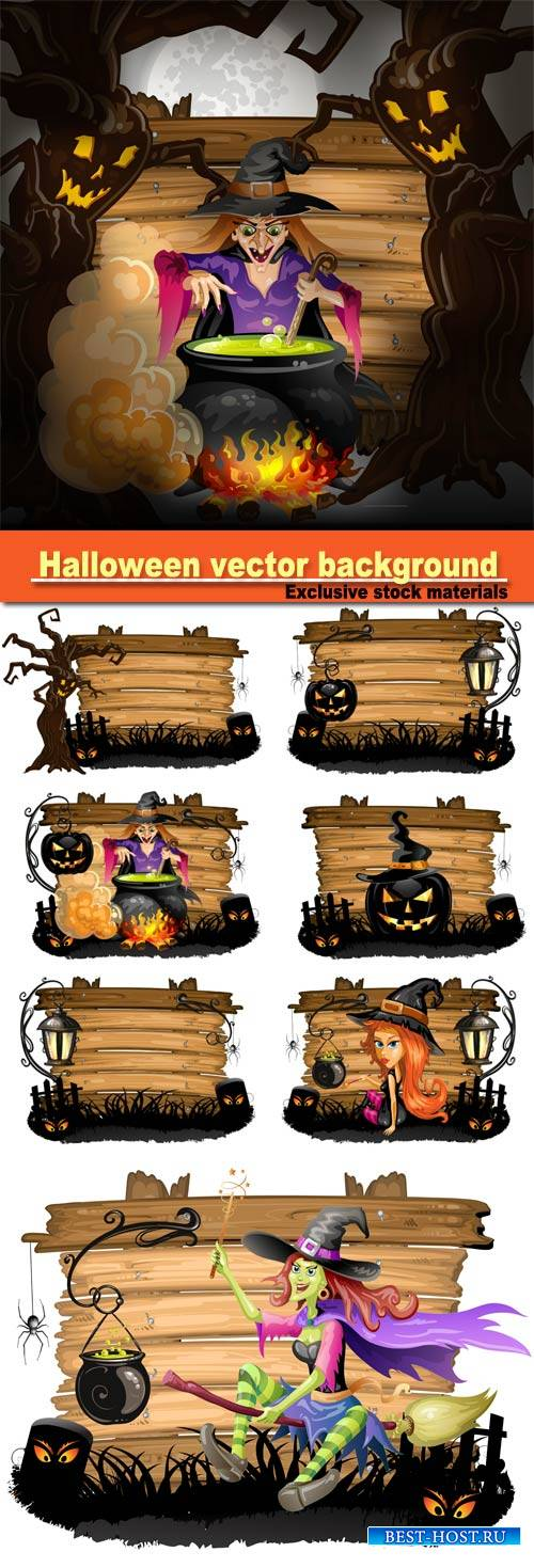 Halloween vector background, witch preparing a potion, Halloween pumpkin wi ...