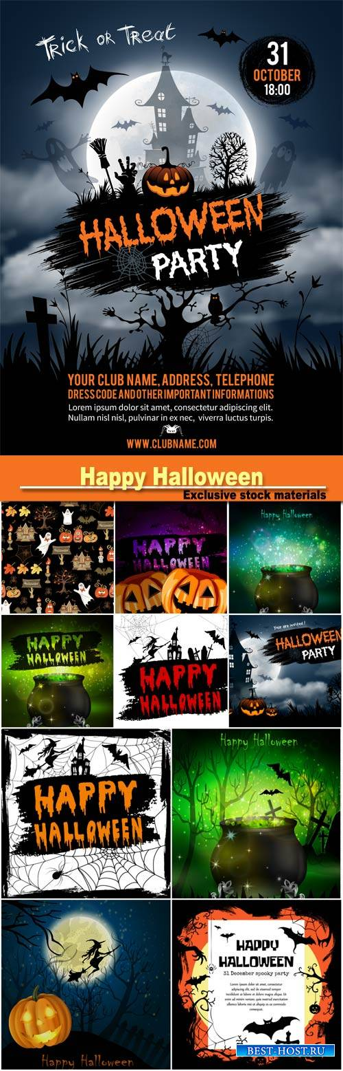 Happy Halloween calligraphy, halloween banner, halloween lettering on a abstract background with pumpkins