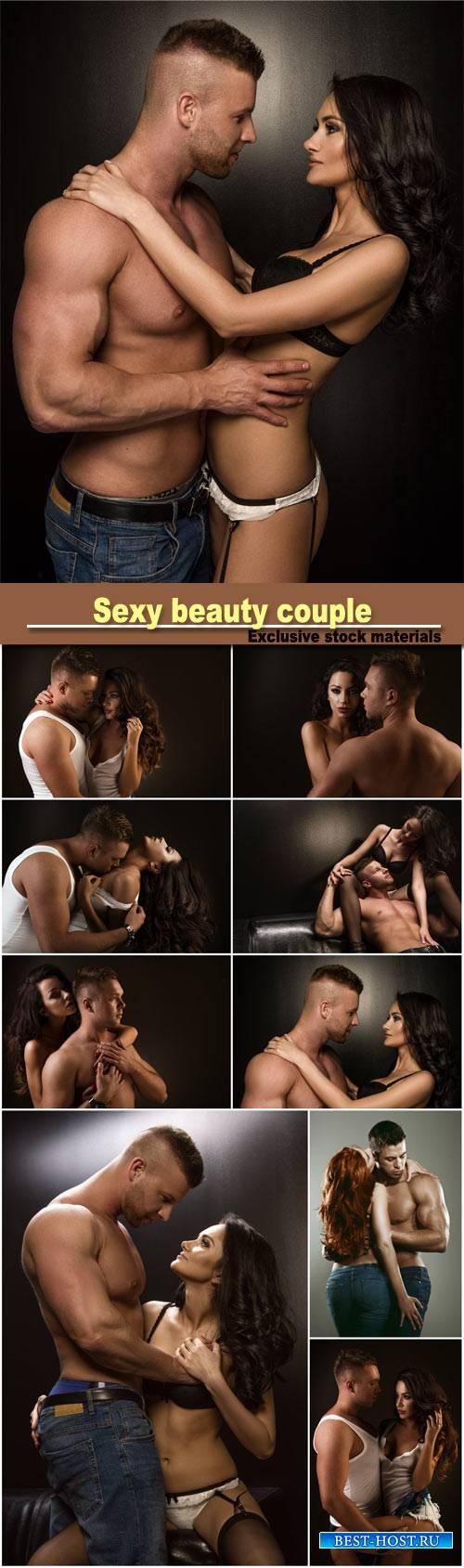 Sexy beauty couple, passionate couple in studio