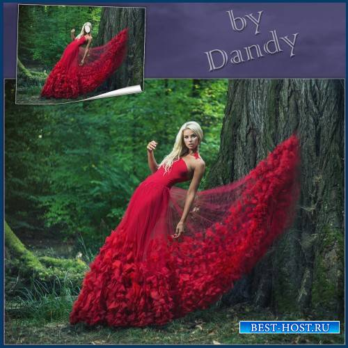 Шаблон для девушки - Блондинка в красном платье