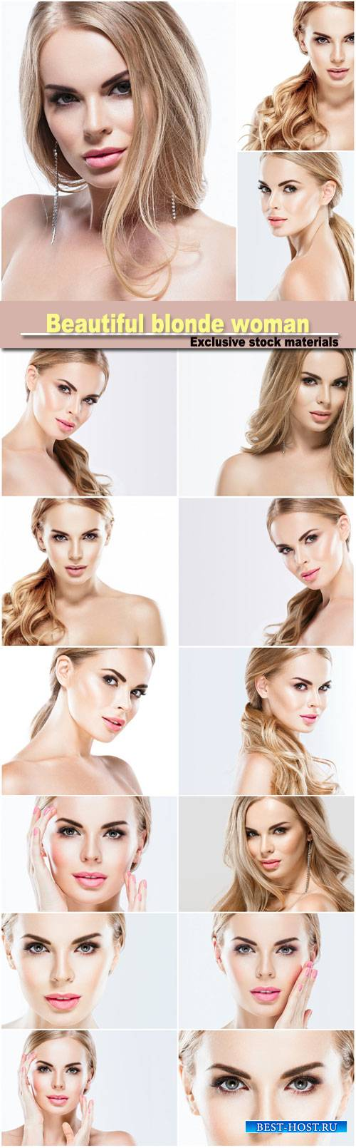 Beautiful blonde woman face close up portrait studio on white