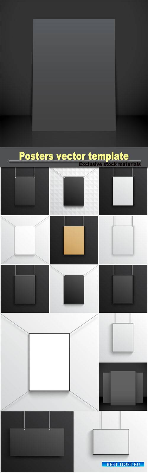 Posters template wall black and white cardboard