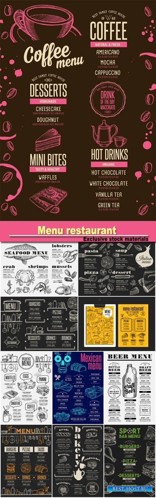 Menu breakfast restaurant, food template, beverage template, bakery restaurant