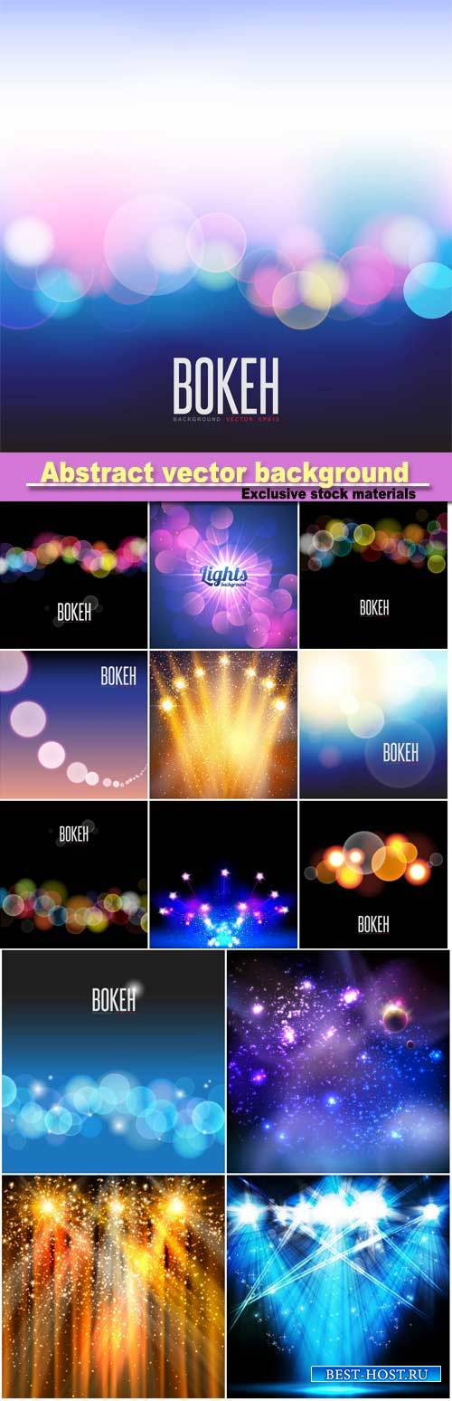 Abstract vector background and blurred lights on background with bokeh effe ...