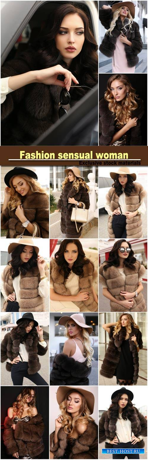 Fashion gorgeous sensual woman in elegant clothes and luxurious fur coat