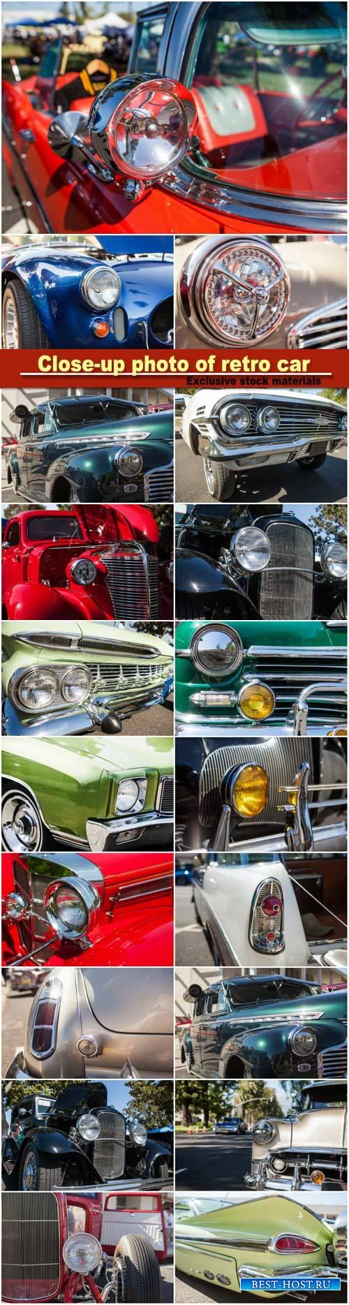 Close-up photo of retro car headlights, old vintage car