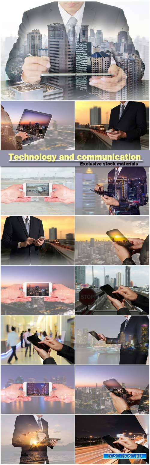 Double exposure of businessman working with tablet and smart phone, technology and communication concept