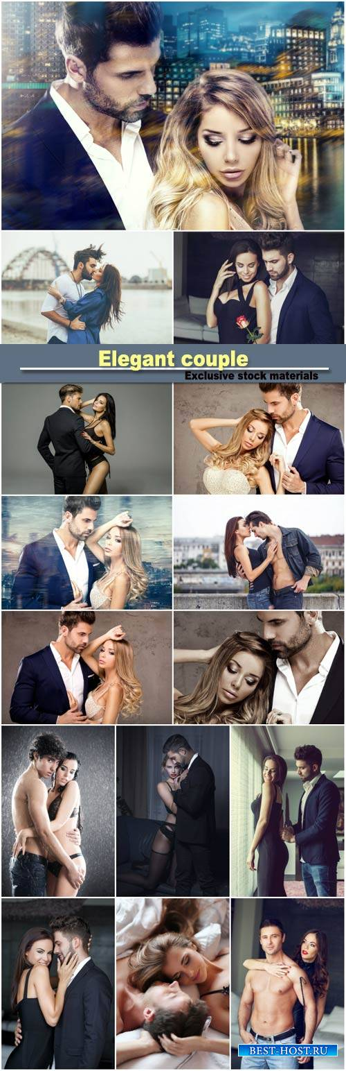 Elegant couple posing together, sexy woman wear lingerie and hugging handsome man