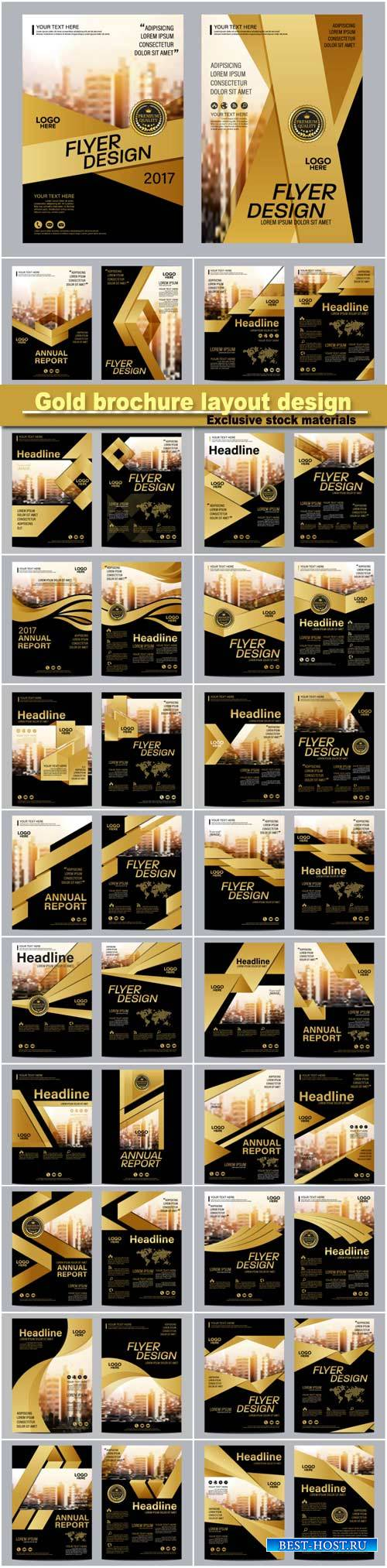 Gold brochure layout design template, annual report flyer leaflet cover pre ...