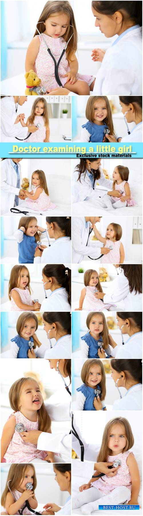 Doctor examining a little girl by stethoscope
