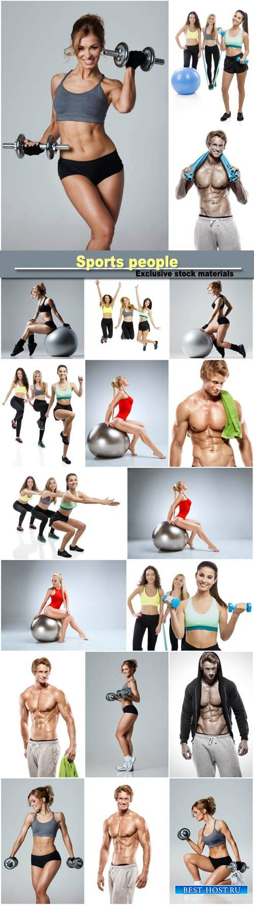 Fitness with dumbbells, group exercise classes, strong athletic muscle man