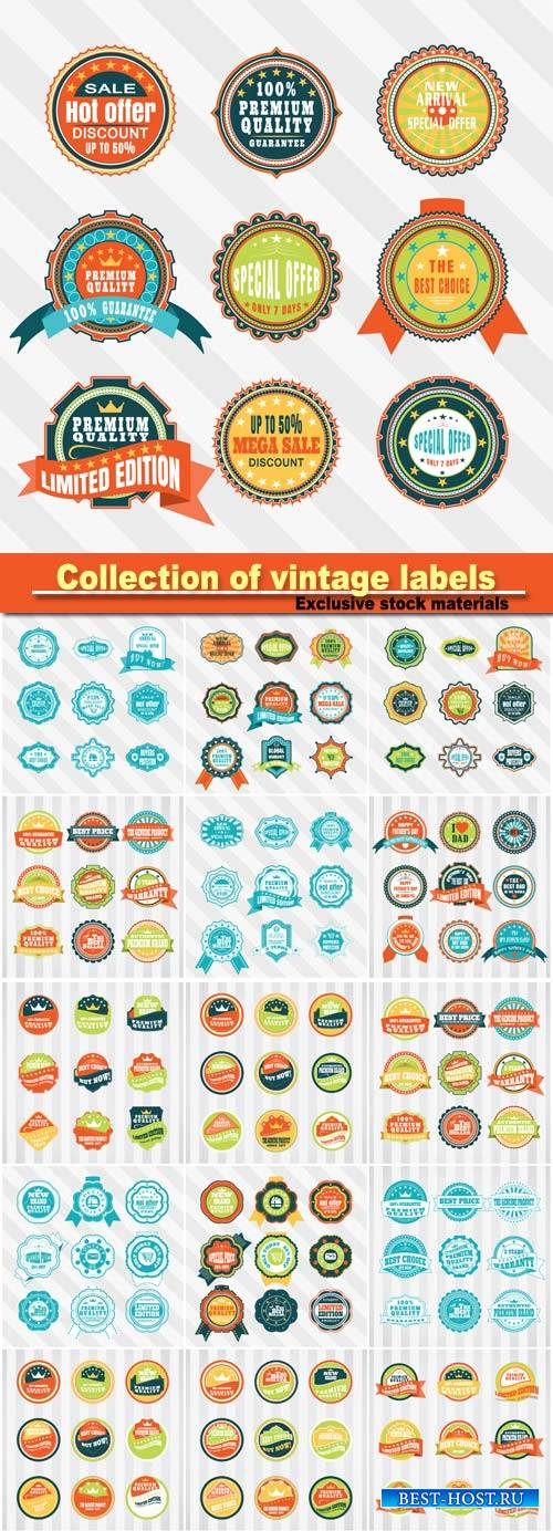Vector collection of vintage labels