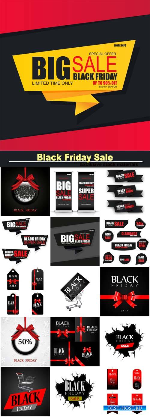 Black Friday sale, vector backgrounds and stickers