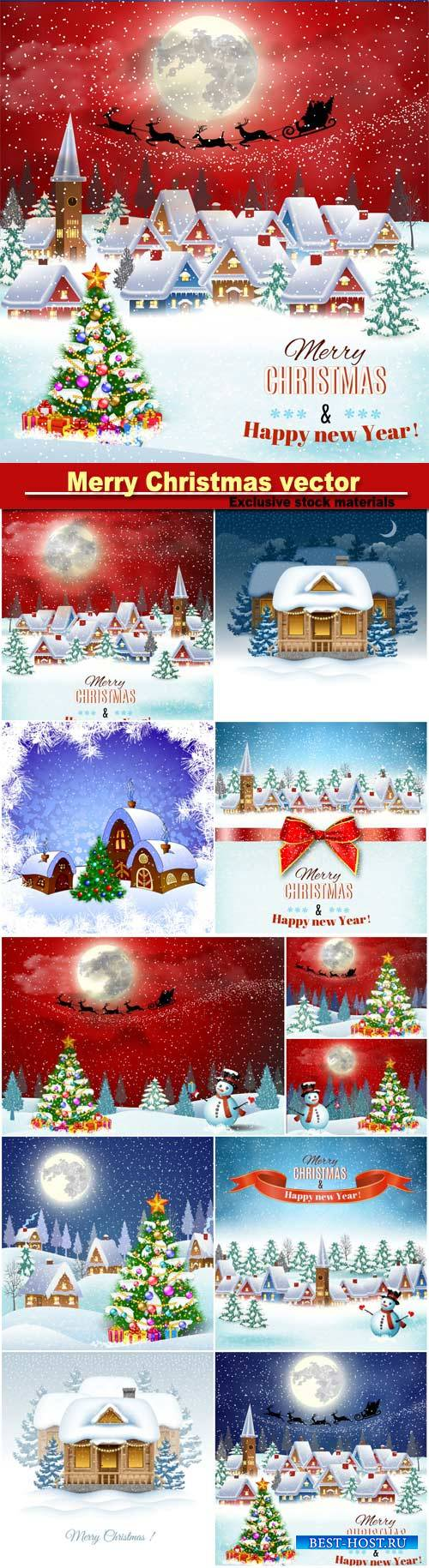 Christmas backgrounds in vector winter landscape with village houses and sn ...