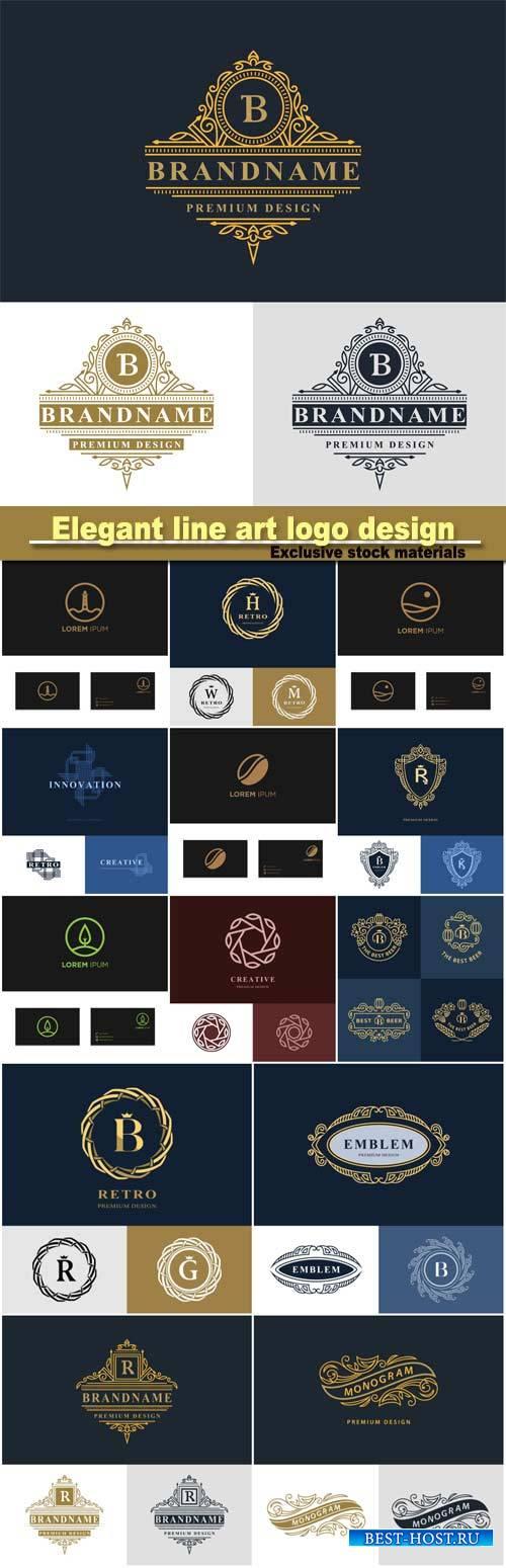 Monogram design elements, graceful template, elegant line art logo design,  ...